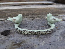 Sage Green Floral w/ Bird Birds Metal HANDLE Drawer Pull Cottage Nature  Decor