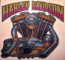 Lic vTg 70s Harley Davidson V-Twin Motorcycle chopper 3D hog NOS t-shirt iron-on