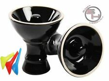 New Large Black Vortex Ceramic Hookah Head Bowl With Free Grommet and Mouthtips