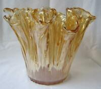 Genuine Italian Art Deco Glass Vase Bowl Pot of Gold Tammaro Italy Murano No 294