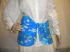 Swimmers Sarong Beachwear Sz Small Floral Turq Aqua Plum White Polyester Stretch