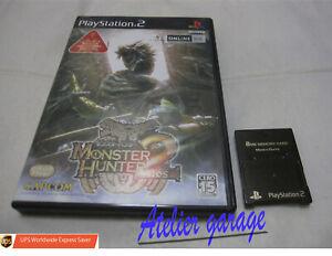 W/Tracking. W/FUJIWORK Black Memory Card+PS2 Monster Hunter 2 Dos Set Japanese
