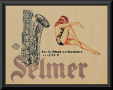 1950s Selmer Saxophone & Pin Up Girl Advertisement Reprint On 1950s Paper *P130