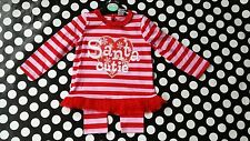 BNWT Baby girls Christmas Santa outfit tutu top/leggings red/pink 3-6 months UK