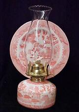 Blue Pink Willow Porcelain Kerosene Oil Lamp w/Reflector Shade Collectible