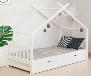 Kinderbett DESIGN Hausbett 2 Schubladen und Lattenrost in weiß 90x200 Casiloo®