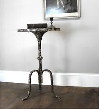 Charming Rustic Three Leg Side or End Table Aged Painted Finish - The Kings Bay