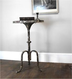 Three Leg Side or End Table Charming Rustic Aged Painted Finish - The Kings Bay