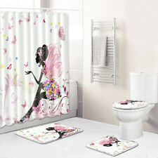 4Pcs Fairy Bathroom Rug Set Shower Curtain Bath Mat Non-Slip Toilet Lid Cover