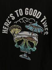 NWT L Skull Tiki Drink Mug Good Times Black T-shirt Retrofit Tropical Large