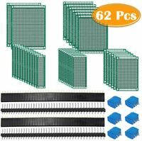 62pcs KIT Prototyping PCB Printed Circuit Board Prototype Breadboard Strip Board