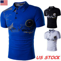 USA Mens Stylish Slim Fit Short Sleeve T Shirt Muscle Tee Shirt Casual Tops M-XL