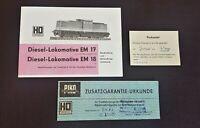PIKO HO Packzettel Garantie Urkunde Diesel Lokomotive EM 17 / 18 Beschreibung