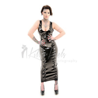 LATEX RUBBER LONG DRESS WITH 2 ZIPPERS unisex fetish  XS S M L XL