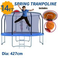 14ft Round Trampoline Fitness Rebounder Kids Basketball Set With Safety Net