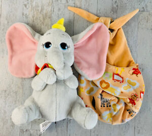 """Disney Parks 10"""" DUMBO With Hat Baby Plush with Blanket Pouch Disney Babies HTF"""