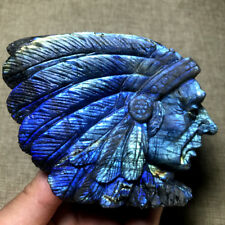 445g Natural Carved Labradorite Indian Head portrait Rare Collectable
