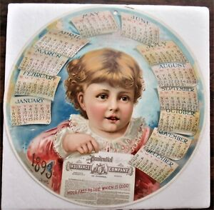 Prudential 1893 Chromolithographic Round Hanging Calendar W/ Muncy Pa Agent Info
