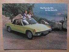 VOLKSWAGEN PORSCHE 914 orig 1973 USA Mkt Large Format Sales Brochure - VW 914S