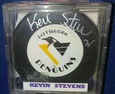 Vintage KEVIN STEVENS AUTOGRAPHED Trench Mfg NHL PUCK  Pittsburgh Penguins wCOA