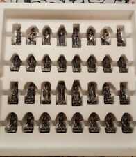 TUDOR MINT CHESS SET: POWERS OF LIGHT VS. DARK: PEWTER PIECES w/ CRYSTALS (1993)