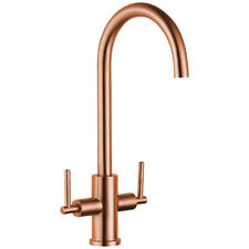 Astini Baldo Brushed Copper Stainless Steel Twin Handle Kitchen Sink Mixer Tap