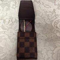Authentic Louis Vuitton Brown Damier Cigarette-Eye Glass Case 5inx2.5inx1.5in(#5