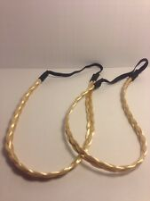 Fashion Jewelry, Two Blond Braided Head Bands, with Elastic Bands.