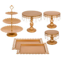 6 Pieces White Gold Crystal Cake Stand Cupcake Stand Wedding Dessert Bar Party🎅