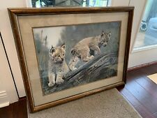 CHARLES FRACE' Double Trouble Signed And Framed Wildlife Art Print Lynx Cubs