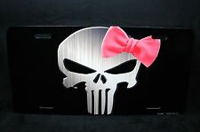 PUNISHER SKULL WITH A PINK BOW LICENSE PLATE TAG FOR CARS SUVS LADY PUNISHER