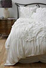 Full Set Anthropologie Georgina White Queen Duvet Cover 2 King Shams + Bedskirt
