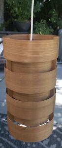 Wood Veneer Pendant Light Fixture MCM Hanging Ceiling medium drum