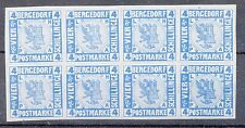 Bergedorf, Sc#5, Color Proof Block 8, Blue/white, signed Buhler, *RARE*, Germany