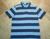 The North Face Short Sleeve Polo Golf Shirt Cotton Blend Striped Blue M