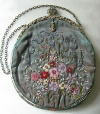Antique Seed Pearl Frame Iridescent Silk Wool Crewel Floral Embroidery Purse