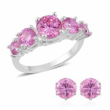 PINK POSH SIMULATED DIAMOND HALF ETERNITY RING EARRING SET SIZE 6 STEEL STURDY