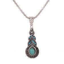 Women Tibetan Silver Blue Turquoise Crystal Pendant Chain Minority Necklace