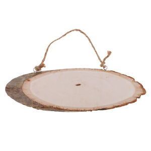 Rustic Log Wood Slices Large Oval Tree Bark Wooden Tags Plaque for DIY Craft