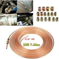1 Piece 25Ft Coil Roll Copper Nickel Brake Line Tubing Hose Pipe +16 Pieces Nuts