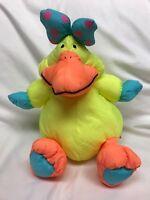Vintage 1990 Stuffins Lumpy's Gang Yellow Duck Nylon Pufffalump Plush RARE