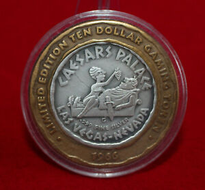 CAESARS PALACE 1966 WINGED VICTORY .999 FINE SILVER $10 GAMING TOKEN...b