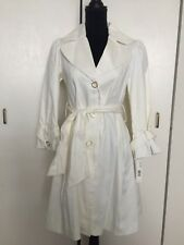 NWT Laundry By Design White Belted Classic Trench Jacket Coat Size S Small