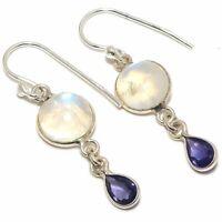"""Rainbow Moonstone  Iolite Gemstone Handmade 925 Sterling Silver Earring 1.3"""""""