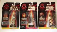 STAR WARS 3 Figure Lot EPISODE 1 TPM The Phantom Menace Hasbro Obi Wan Kenobi