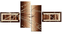 """LARGE BROWN BEIGE ABSTRACT CANVAS ARTWORK PICTURE MULTI 4 PANEL 57"""" (146 cm)"""