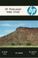 HP Photo-smart Matte Vivid~~4 x 6 Photo Paper~50ct~10 mil