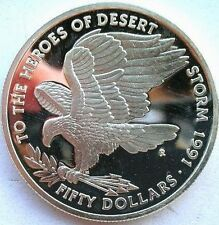 Marshall 1991 Desert Storm Eagle 50 Dollars 1oz Silver Coin,Proof