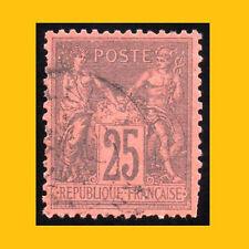 PAIX & COMMERCE 25 c NOIR SUR ROUGE - TYPE SAGE N° 91