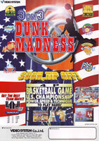 VIDEOSYSTEM 3 ON 3 DUNK MADNESS ORIG VIDEO ARCADE GAME SALES FLYER BROCHURE 1997